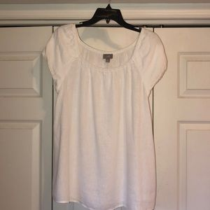 White short sleeve summer linen top
